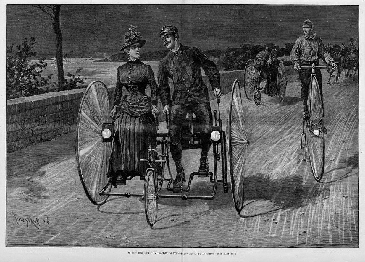 1886 velocipede tricycle Sociable harpers weekly.jpg