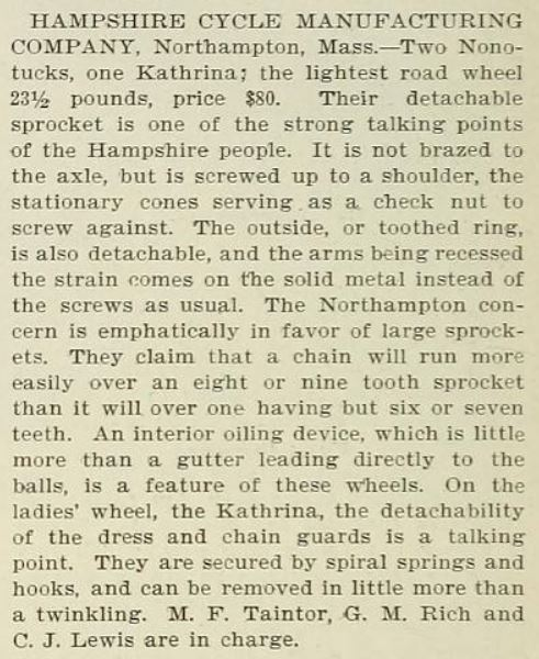 1896.01.24 - The Wheel and Cycling Trade Review - Hampshire Cycle at NYC Show.JPG