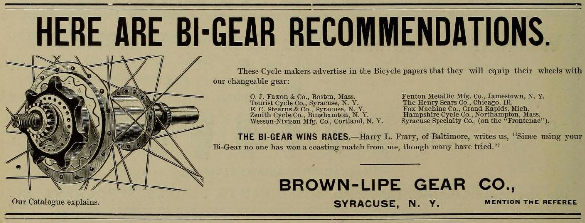 1896.05.07 - Referee and Cycle Trade Journal - Hampshire to use Bi-Gear.JPG