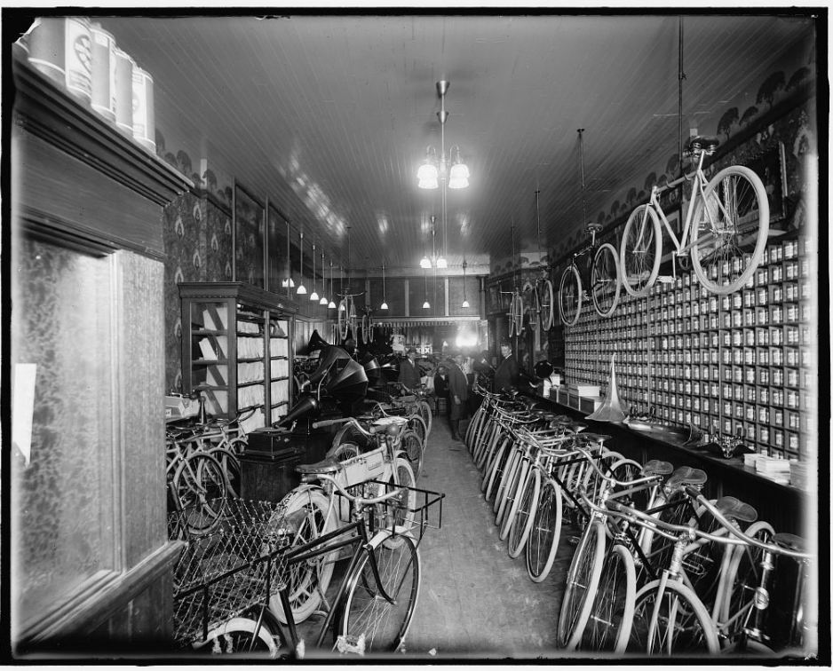 Bicycle and motorcycle shop showing courier bike.jpg