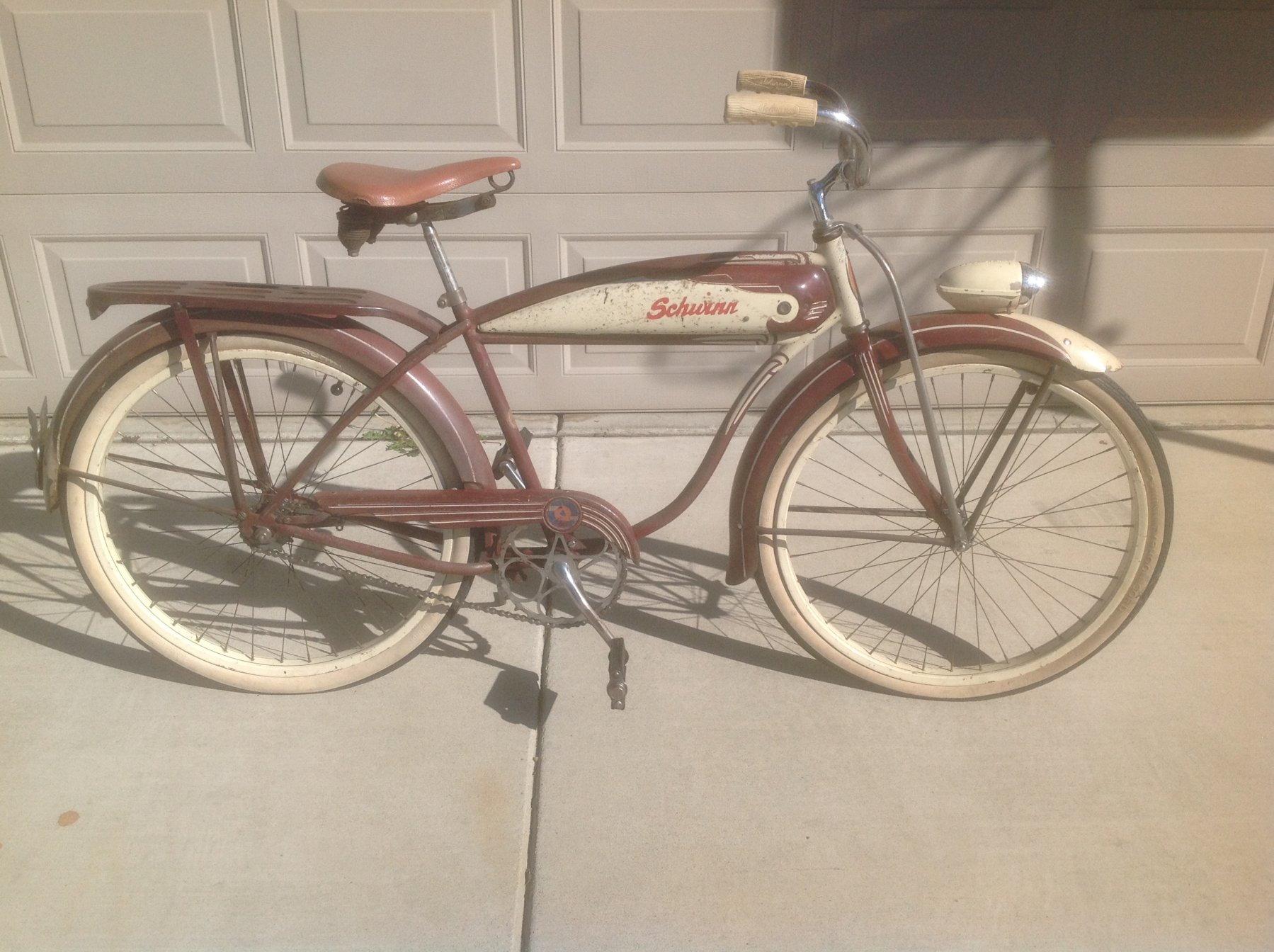 735bb754d83 Can anyone tell what if any parts are correct for this 1950 Schwinn. It's  has a Schwinn BF Goodrich headbadge, BFG chain guard and rear BFG reflector?