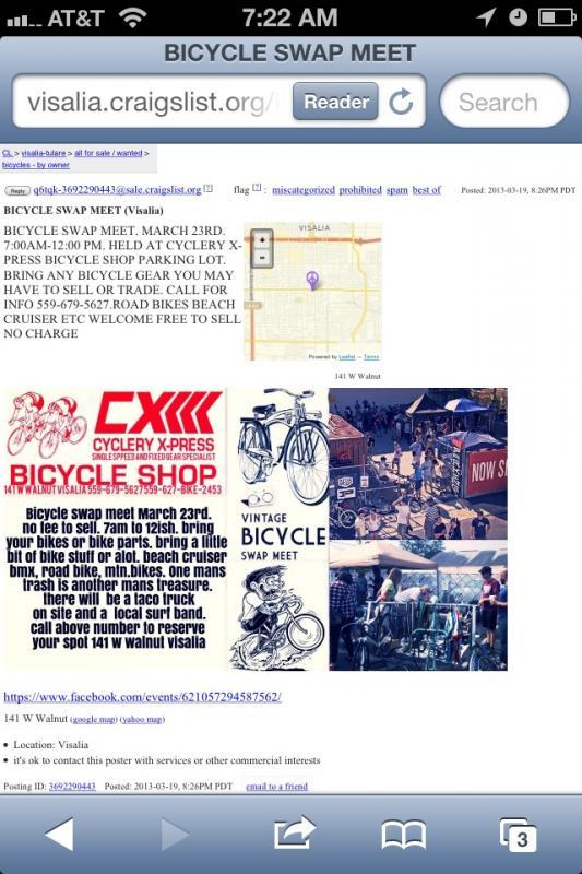 Vintage Bike Swap Visalia, CA Saturday Mar  23   The Classic and