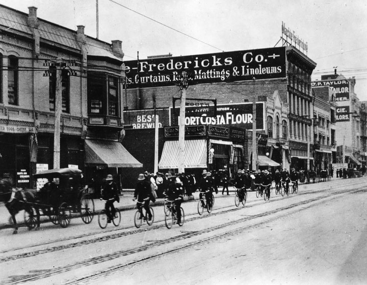 LA Bicycle Police Squad Broadway past 6th Street 1904.jpg