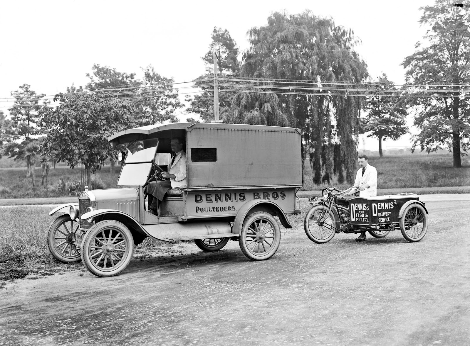 Truck and motorised tricycle of Dennis Brothers, poulterers, 1890s-1930s.jpg