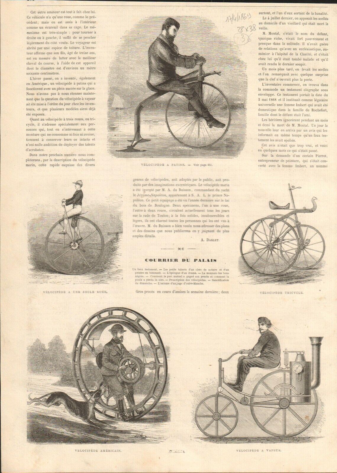 Vélocipède à Patins Tricycle Vélo Bike Bicycle Bicycle GRAVURE OLD PRINT 1869.jpg