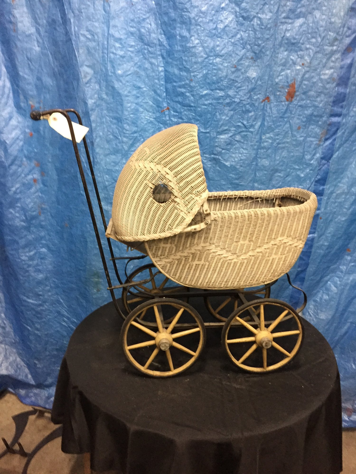 Vintage Antique Wicker Doll Carriage 1900's - $100.jpg