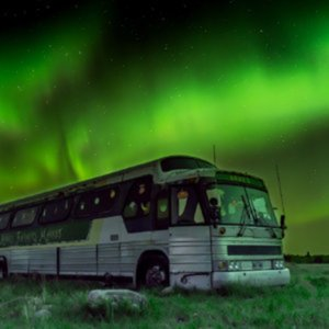 Bus in Gimli Manitoba Canada with Northern Lights