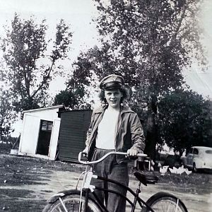 Young Girl Riding Bicycle In The 1940s