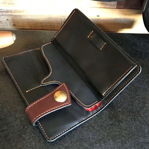japanese style long wallet in havana saddle & calf