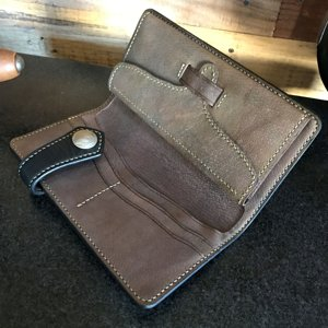 japanese style long wallet in horween essex & custom stained pigskin