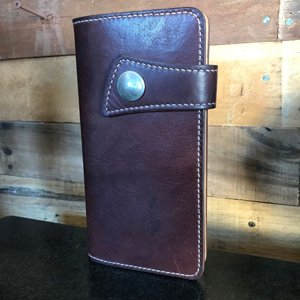 japanese style long wallet in havana saddle & calf, lined with vintage acetate