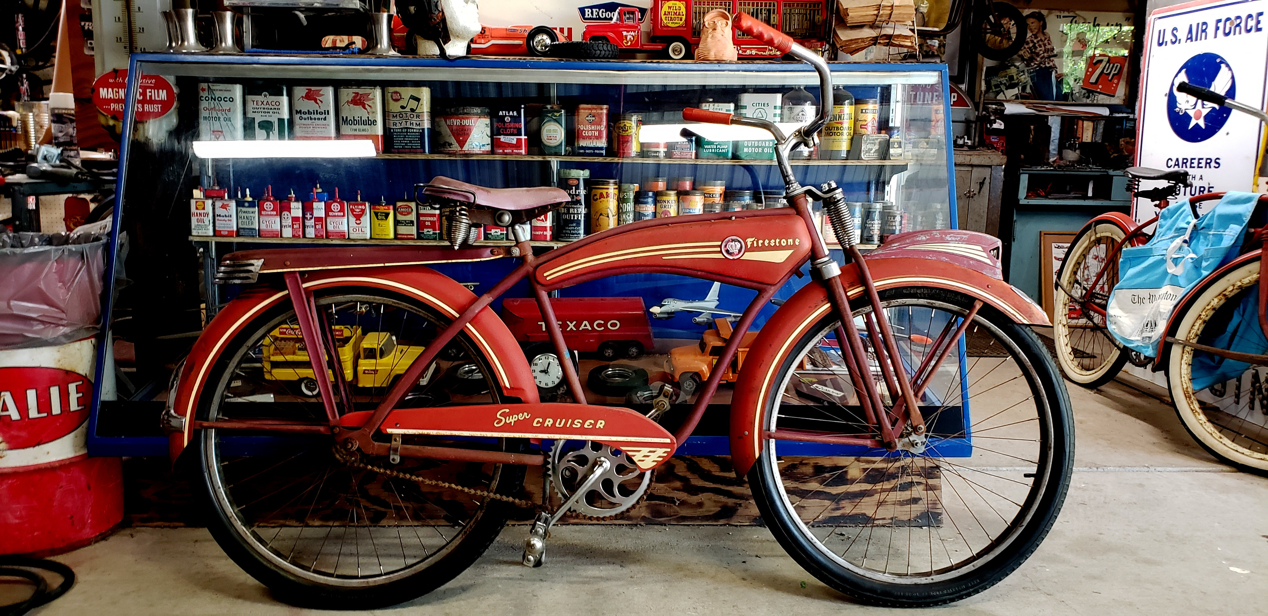 Update: Barn Fresh, Monark, 1950, Firestone Super Cruiser, 2 tone red!