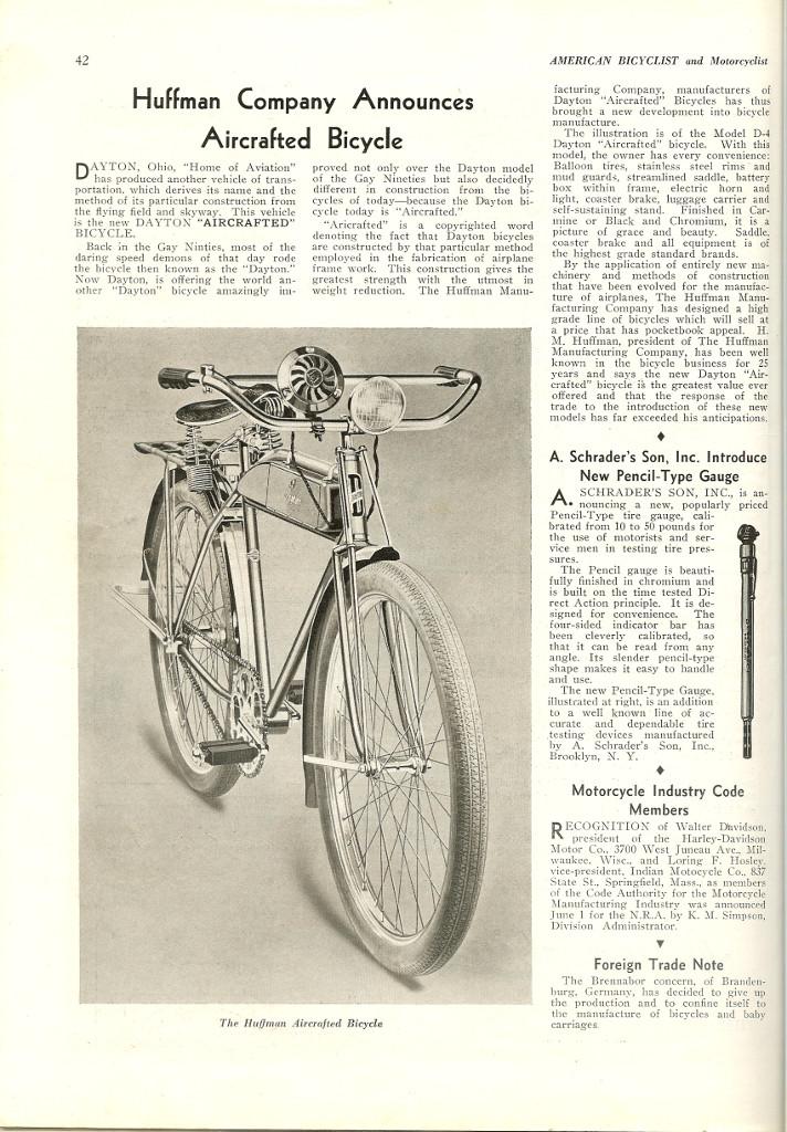 1934 Huffman (Dayton) Motorbike Model D-4